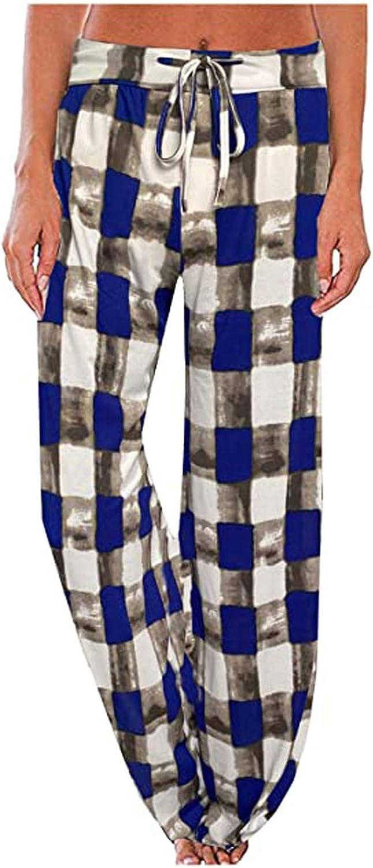 Ulanda Women Fashion Plaid Floral Print Wide Leg Lounge Pants Comfy Drawstring Palazzo Wide Leg Yoga Pants