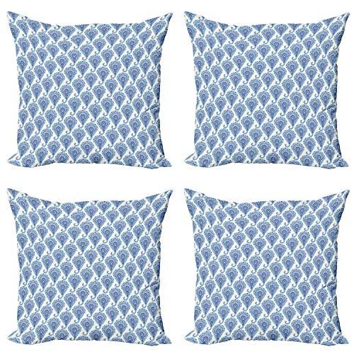 ABAKUHAUS Étnico Set de 4 Fundas para Cojín, Oriental Paisley Las Gotas de Lluvia, Estampado Digital en Ambos Lados y Cremallera, 60 cm x 60 cm, Turquesa Azul Marino