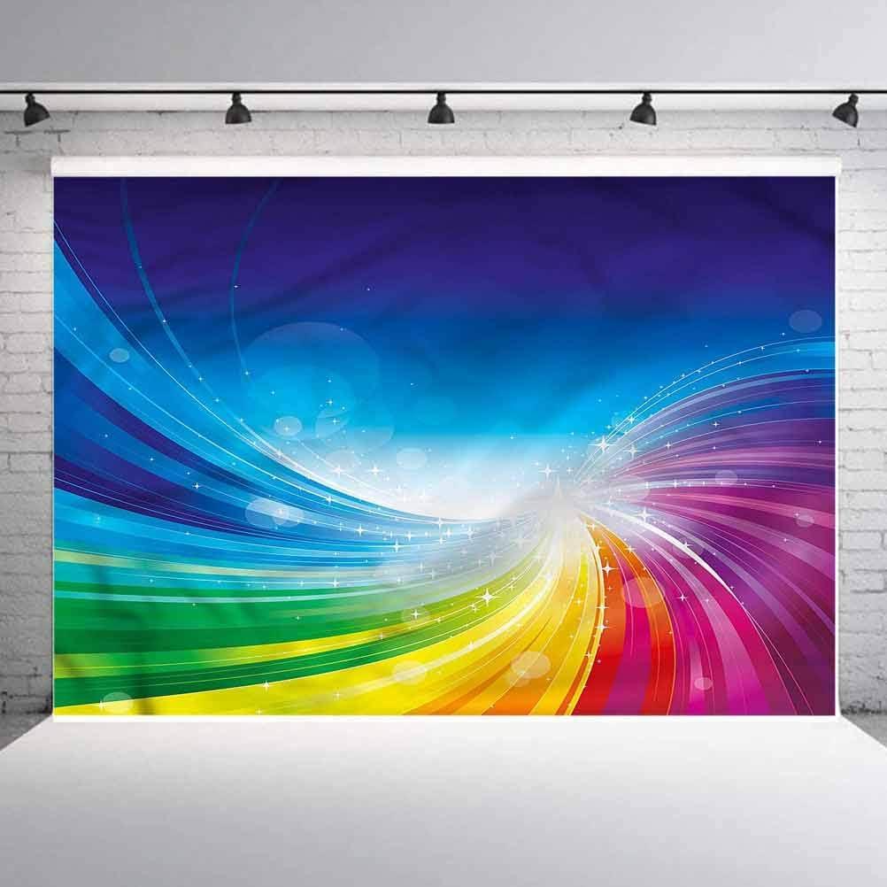 8x8FT Vinyl Photography Backdrop,Colorful,Wavy Funky Pop Art Photoshoot Props Photo Background Studio Prop