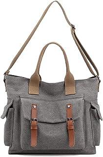 LOSMILE Damen Schultertaschen Canvas Handtasche Groß Vintage Umhängentasche Casual Messenger Bags Damen Hobo Shopper Tasch...