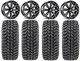 Bundle - 9 Items: MSA Black Kore 14' ATV Wheels 28' Regulator Tires [4x156 Bolt Pattern 12mmx1.5 Lug Kit]