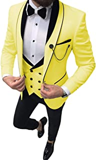 Uomo 3 Pezzi Formale Mens Tuta Slim Fit Lapel Tuxedos per Matrimonio Groomsmen(Blazer+Gilet + Pant)