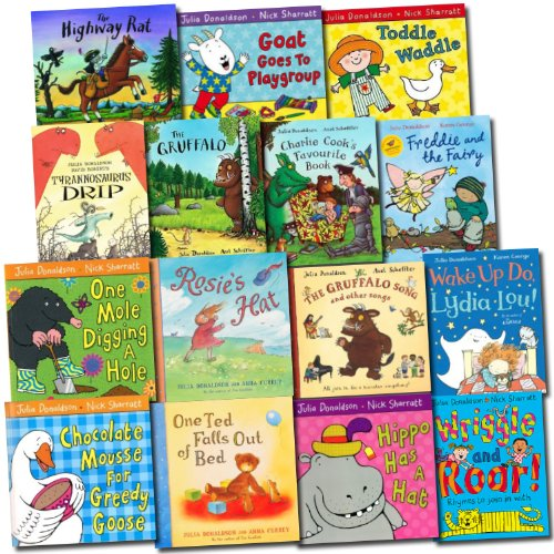 Julia Donaldson Collection 15 Children Books Set (Gruffalo, Wriggle and Roar, One Mole Digging A Hole, Hippo Has A Hat, Toddle Waddle, Rosie's Hat, One Ted Falls Out of Bed, Highway rat, Charlie Cook's Favourite Book, Tyrannosaurus Drip, etc)