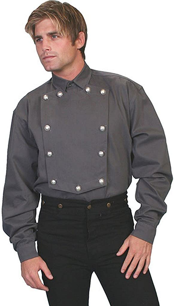 Scully Wahmaker Men's Old West Brushed Twill Bib Shirt Big and Tall