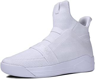 MT-SOULSFENG Unisex White Breathable Mesh Knit High-Top Athletic Running Sneakers