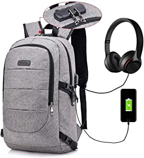 Laptop Backpack, Business Anti Theft Waterproof Travel Backpack with USB Charging Port & Headphone Interface for College Student for Women Men,Fits Under 17-Inch Laptop Notebook