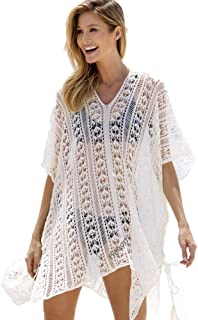 ec3bf6d4af868 Womens Bikini Cover Ups,Hollow Crochet Sexy See-Through Lace Bohemia Bathing  Suit for