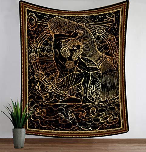 DAHUAJIA Tapijt, vintage mandala 12 sterrenbeelden aquarius hangende doek doek wandtapijt decoraties wandschilderij strandlaken huisdecoratie kunst muur 130X150CM