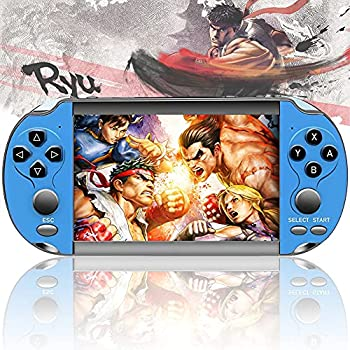X12 Handheld Game Console Portable Mini Retro Video Games Console Build in 6800 Classic Games of Arcade/CPS/GBA/GBC/GB/SFC/FC Emulator Console 5.1 Inch Screen/Dual Joystick Gift for Kid  Blue