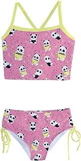 Little & Big Girls 2PC Bikini Set Birthday Party Panda Pattern Tankini Swimsuit Size 2-16
