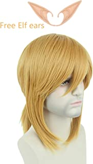 Topcosplay Blonde Wig Short Side Bangs with Braid Cosplay Halloween Costume Wigs for Men or Women