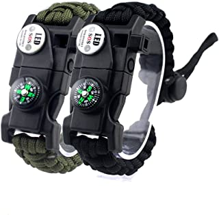 bussola fischietto Confezione da 12 pezzi colori misti kit da viaggio #FLC158-FWC acciarino braccialetto di emergenza per campeggio Mix-s fibbia in plastica paracord raschietto