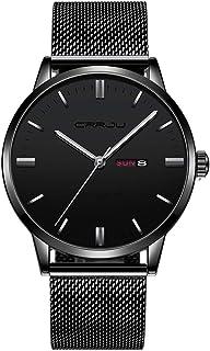 FIZILI Relojes para Hombre Moda Deporte Cuarzo Analógico Negro Malla Acero Inoxidable Impermeable Cronógrafo Reloj de Pulsera
