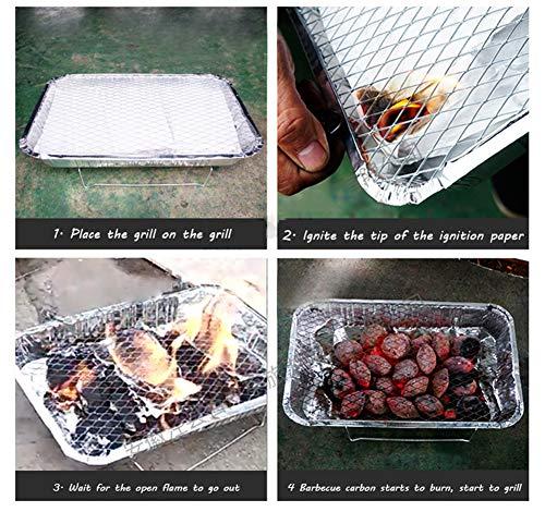 61HPhb7uP7L - HOSUAI Einweggrill Einmalgrill Aus Aluminium Mokeless, Fruchtkohle, 125G, Tragbare Küche