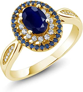 Blue Sapphire 18K Yellow Gold Plated Silver Women's Engagement Ring 1.62 Ctw Oval, Gemstone Birthstone (Available 5,6,7,8,9)