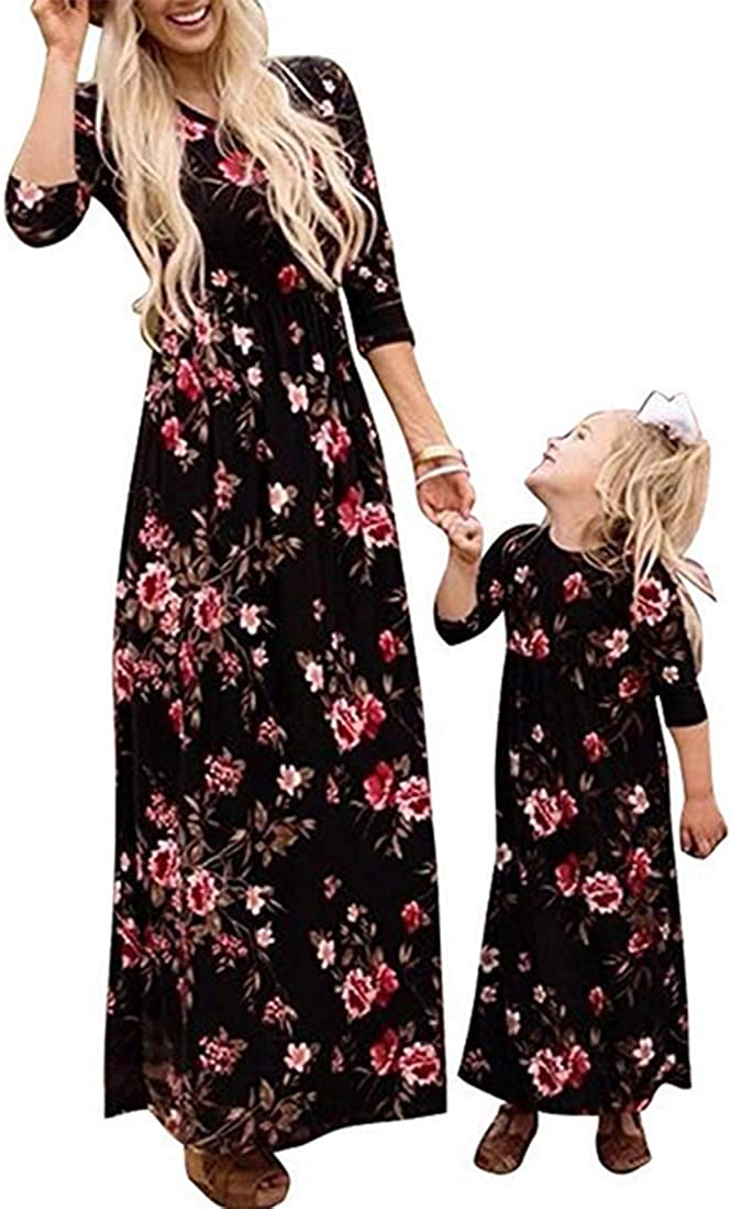 Mother Daughter Flower Print Maxi Dress Round Neck Long Sleeve Dress with Pockets Family Matching Dress Outfits