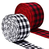 URATOT 2 Rolls Plaid Burlap Ribbon Wired Christmas Ribbon Wrapping Ribbon for Christmas Crafts Decoration, Floral Bows Craft