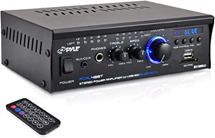 Pyle PCAU48BT Bluetooth Mini Blue Series Stereo Power Amplifier, 2 x 120 Watt, USB Charge, USB/SD Readers, AUX Input