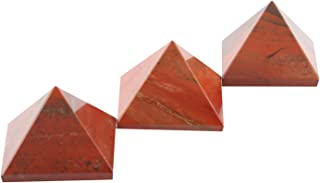 Aatm Energy Generator Gemstone Red Jasper Pyramid for EMF Protection Chakra Healing Meditation (Set of 3 and Size - 1 and 1 Inches) {Includes a Free Surprise Gift for Wellness}