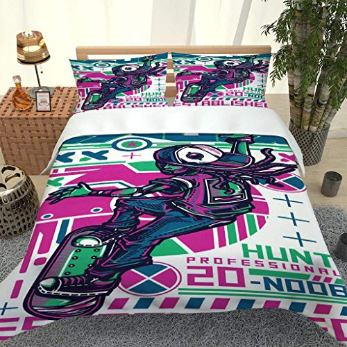 PKTMK 3D Printed Colorful skateboarding Duvet Cover with 2 Pillowcases Bedding Set with Zipper Closure Hypoallergenic Soft Microfiber Quilt Cover Set King 230x220cm