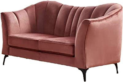 Benjara Fabric Upholstered Loveseat with Pleated Backrest, Pink
