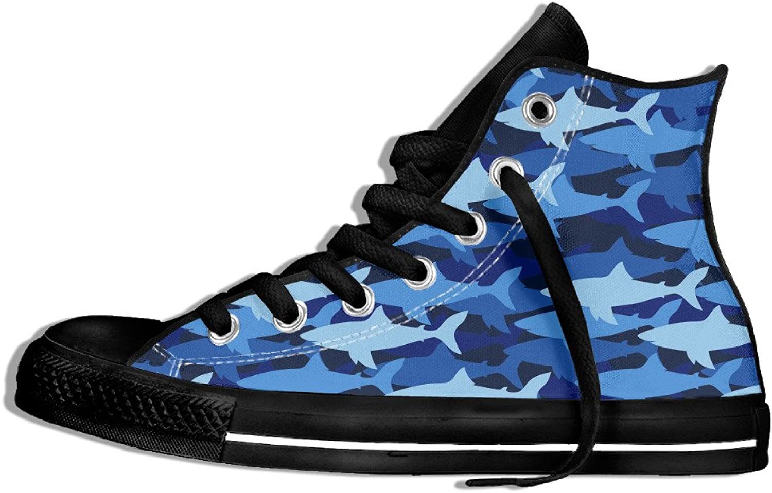 Efbj Cute Shark Print Unisex Unique High Top Sneakers shoes for Men and Women