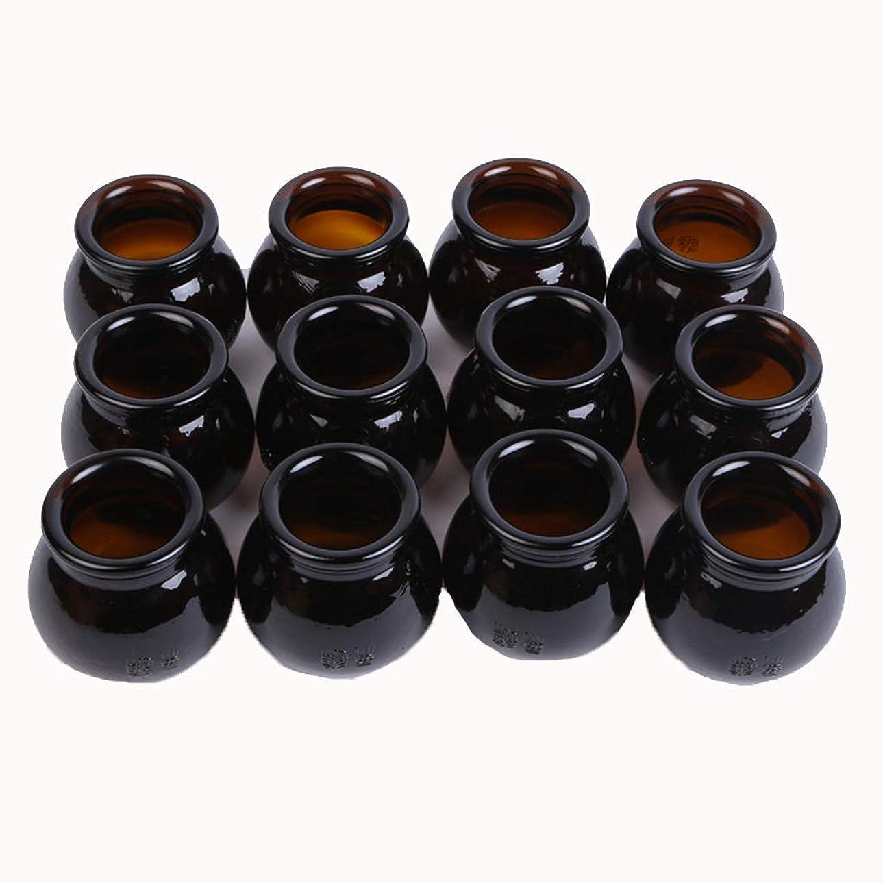 特許くそーデータベース12本純粋な手色の鍼治療マッサージカップ厚い茶色の火の瓶