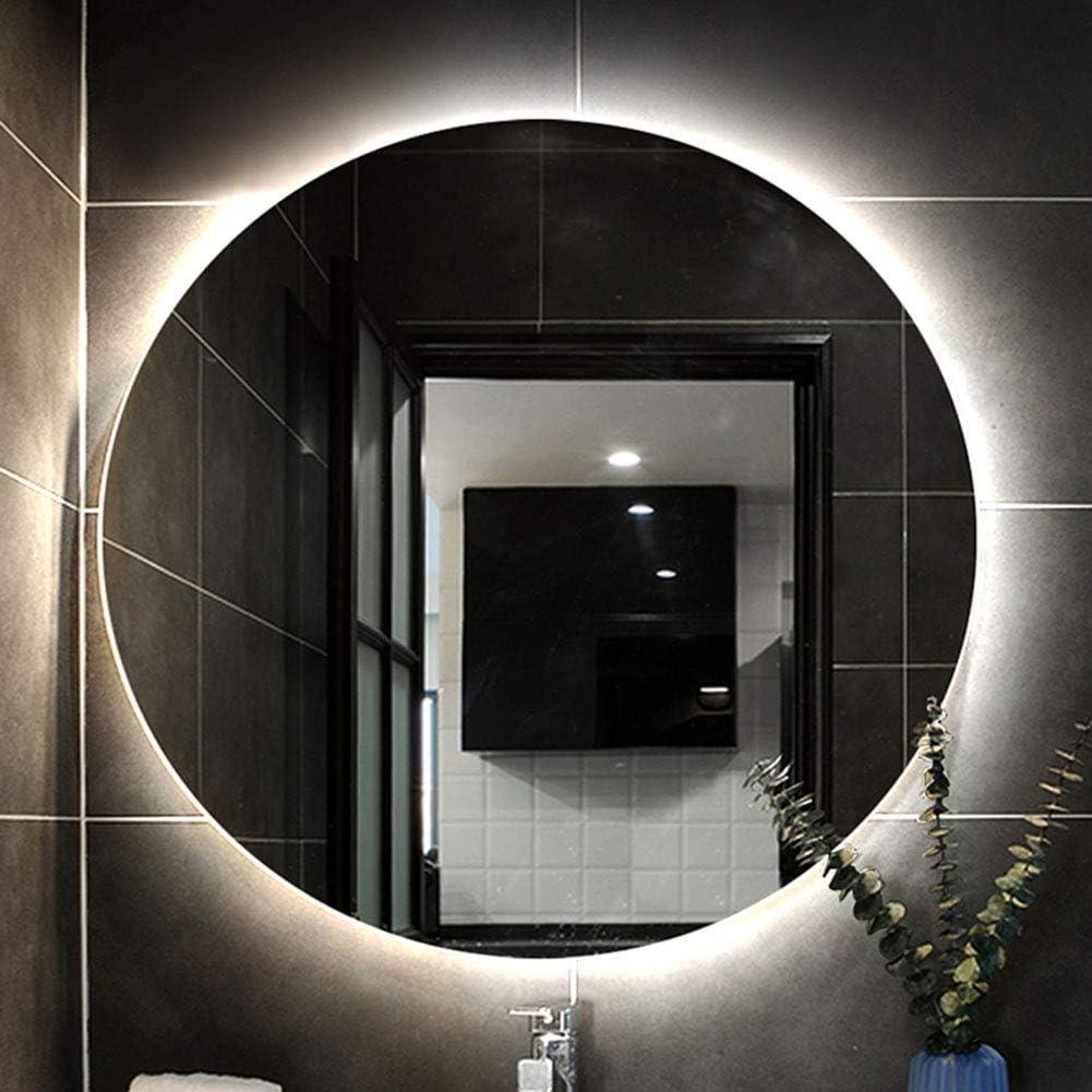 Miroir De Salle De Bains /à R/éTro/éClairage LED Rond R/éTro-/éClair/é 60cm L/&ED Miroir Miroir De Rasage De Maquillage Mural Anti-Brouillard Anti-D/éFlagrant50