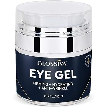 Glossiva Eye Gel, Hyaluronic acid for Wrinkles, Fine Lines, Dark Circles, Puffiness, Under Eye Bags - Hydrating, Firming, Rejuvenates Skin - Advanced Repair Formula 1.7 Fl Oz