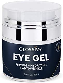 Glossiva Eye Gel, Hyaluronic acid for Wrinkles, Fine Lines, Dark Circles, Puffiness, Under Eye Bags - Hydrating, Firming, Rejuvenates Skin - Advanced Repair Formula 1.7 Fl Oz