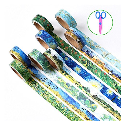 Wordmo decoratives Washi-Band, aus Japanischem Papier, Japanische Washi-Masking, Klebeband für Kunst, Handwerk, Büro, Geschenkverpackung, 6 Stück Van Gogh (6 Pack)