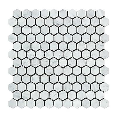 Carrara White Italian (Bianco Carrara) Marble Hexagon Mosaic Tile, Honed