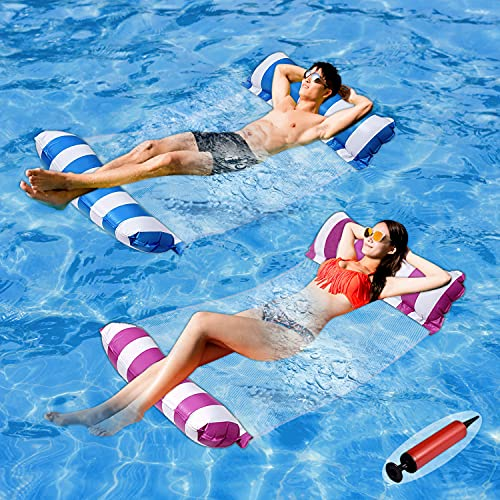 Pool Floats Adult Size - 2 Pack 4-in-1 Inflatable Pool Float Pool floaties with Air Pump,Fun Water...