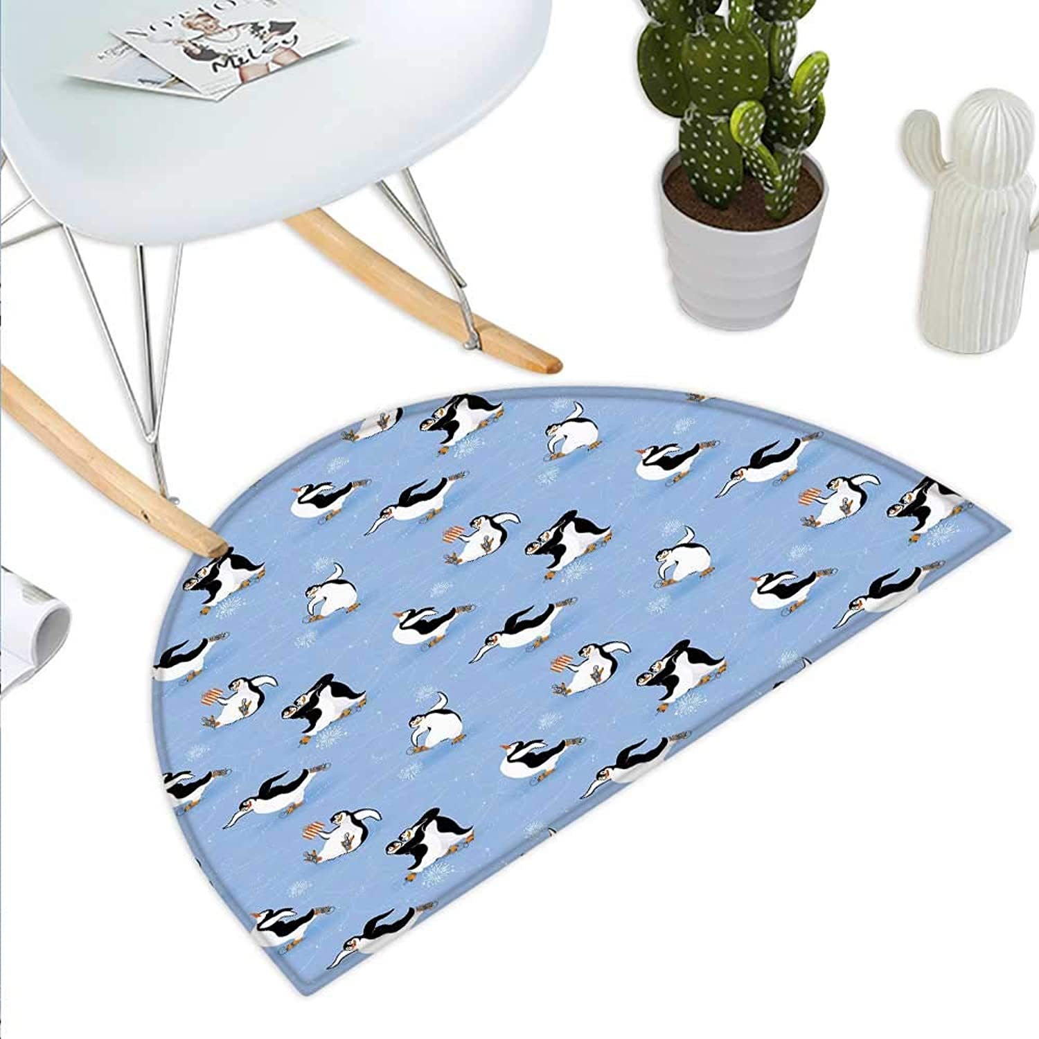 Cartoon Animal Semicircle Doormat Skating Funny Penguins Fun Activity Cheerful Smiling Mascots Cute Couple Halfmoon doormats H 39.3  xD 59  Multicolor