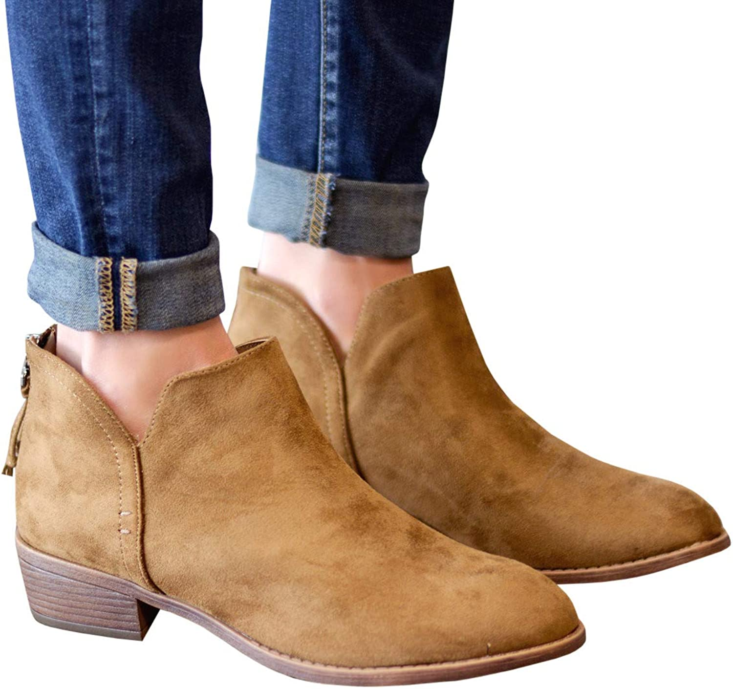 CNJFJ Womens Western Cowboy Ankle Boots Slip on Ankle Low Heel Zipper Back Round Toe Bootie shoes