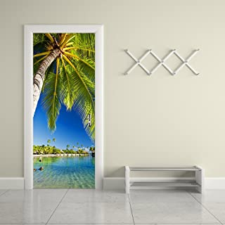 """Fymural Door Wall Mural Wallpaper Stickers-Palm Tree Vinyl Removable 3D Decals 30.3x78.7"""",Multicolor"""