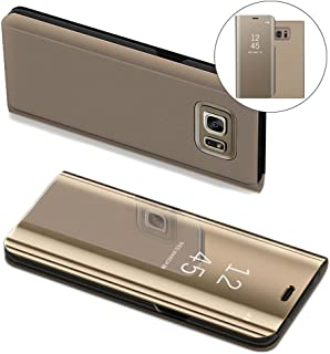 Samsung S7 Edge Case, COTDINFORCA Mirror Design Clear View Flip Bookstyle Luxury Protecter Shell With Kickstand Case Cover for Samsung Galaxy S7 Edge SM-G935-5.5 inch. Flip Mirror: Gold