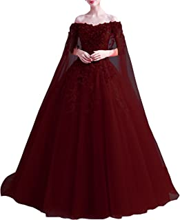 Kivary Off Shoulder Long Floral Lace Beaded Prom Wedding Dresses with Cape