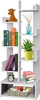 White Storage Bookcase Bookshelf Wooden 8-Tier Display Shelf Organiser Rack Free Standing Shelves for Home Office Cabinet