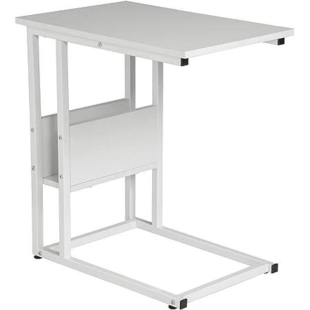 WOLTU Tavolino Laterale da Divano Piccolo Tavolo da caff/è per Salotto in MDF e Ferro Colore Bianco+Oro TS79gdws