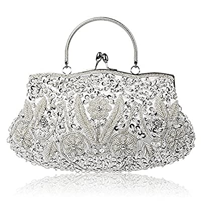 SSMY Beaded Sequin Design Flower Evening Purse Large, Silver, Size One Size