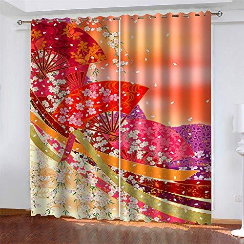 Kind 2er-Set Verdunkelungs Vorhang,Japanischer Stil Kirschblüte Fächer Kunst Malerei Kinder Gardinen Ösen Gardine Thermo Polyester Schlafzimmer Vorhänge Muster 215 x 220 cm (HxB)