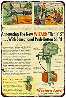 Custom Kraze Western Auto Wizard Push Button Outboard Motors Reproduction Metal Sign 8 x 12