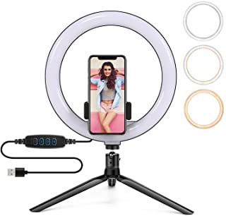 PTN 10 inch Selfie Ring Light, with a Tripod and Phone Holder, 10 Brightness Levels & 3 Color Modes, for Live Stream/YouTu...