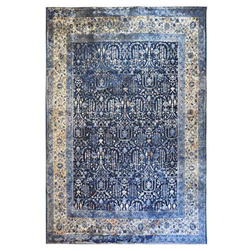 WEBTAPPETI.IT - Alfombra de salón oriental clásica, lavable y antimanchas, color azul,...