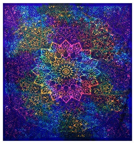 GLOBUS CHOICE INC. Multicolor Blue Tie Dye Bohemian Tapestry Elephant Star Mandala Tapestry Tapestry Wall Hanging Boho Tapestry Hippie Hippy Tapestry Beach Curtain Coverlet 90 x 84