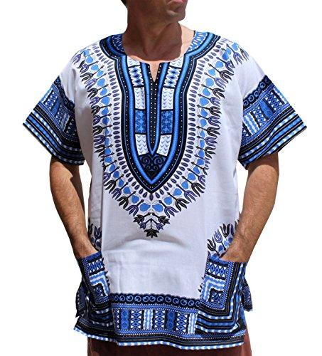 RaanPahMuang Brand Unisex Bright African White Dashiki Cotton Shirt #17 Navy X-Large