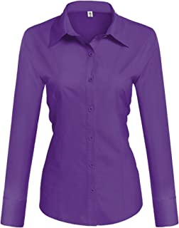 220fe239e Hotouch Womens Long/Short Sleeve Cotton Basic Simple Button Down Shirt