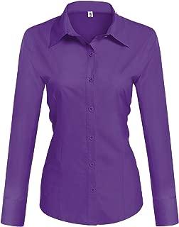 Womens Long Sleeve Cotton Basic Simple Button Down Shirt Slim Fit Formal Dress Shirts