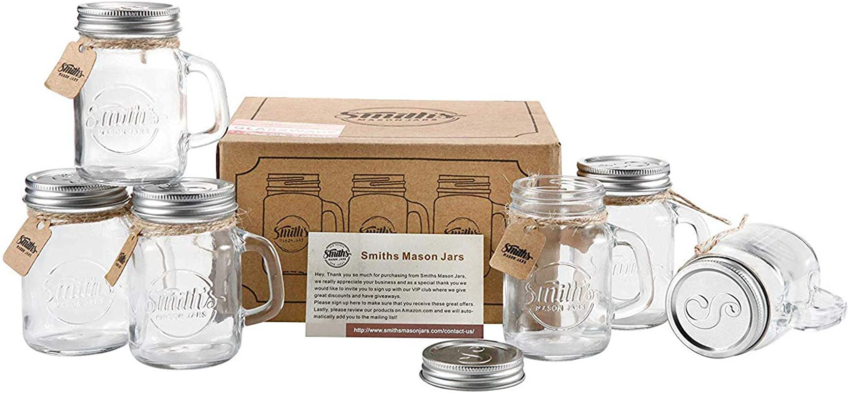 Smiths Mason Jars 6 X 16oz Mason Jar Mugs With Lids Great Mason Jar Old Fashioned Glasses